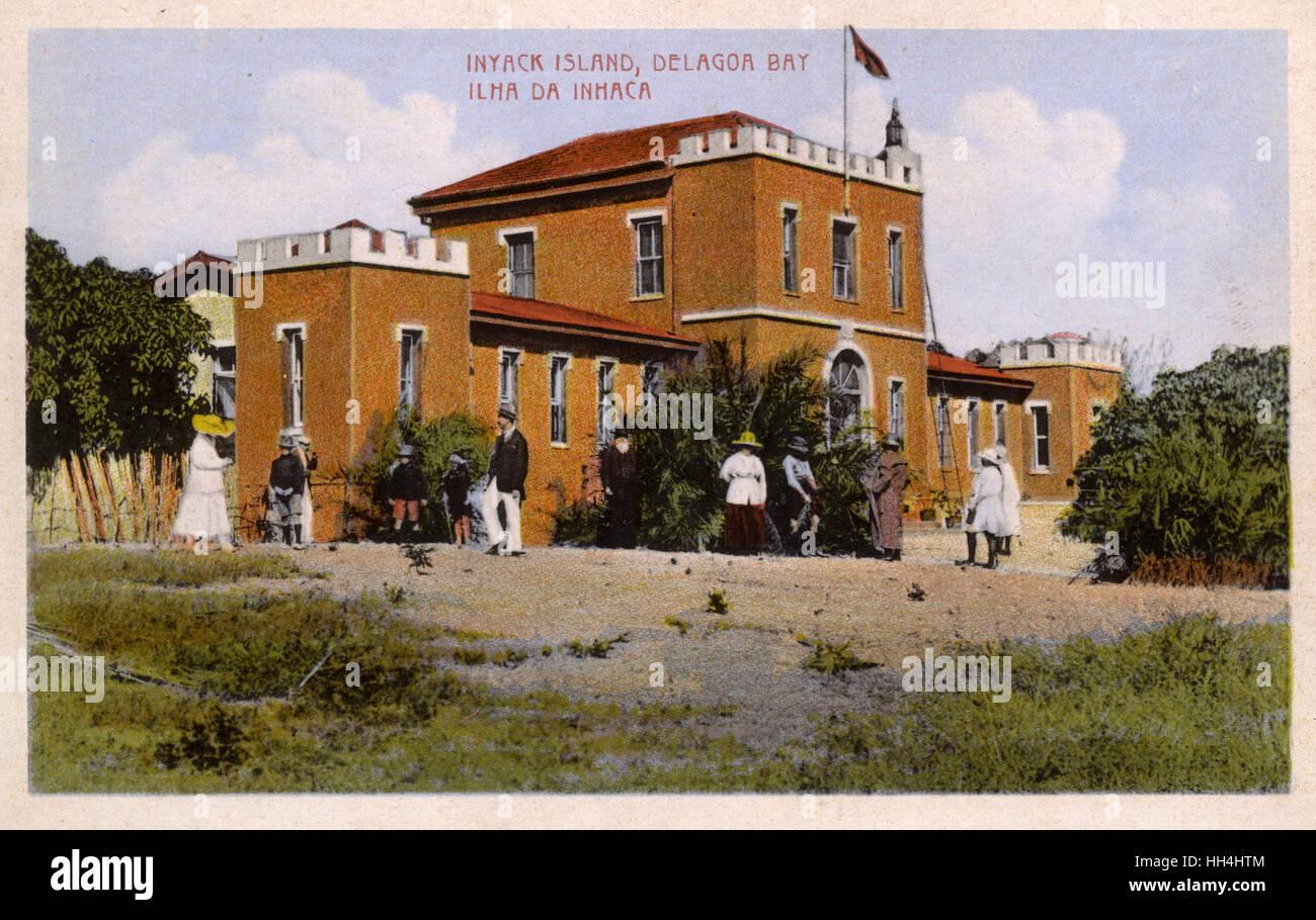 Building on Inhaca Island, Delagoa Bay (now Maputo Bay), Mozambique, Portuguese East Africa. Stock Photo