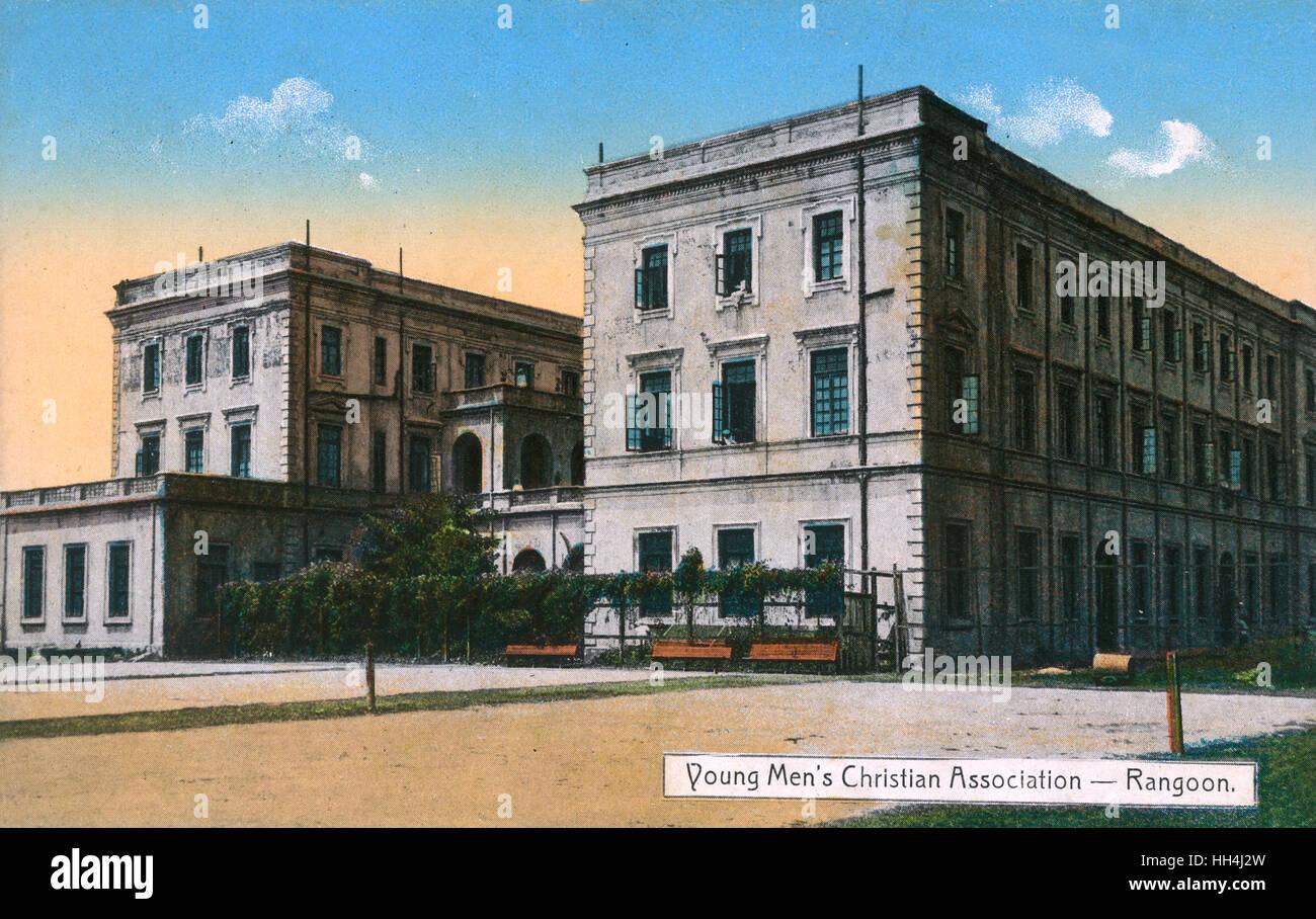 Young Men's Christian Association (YMCA) building, Rangoon, Burma. - Stock Image