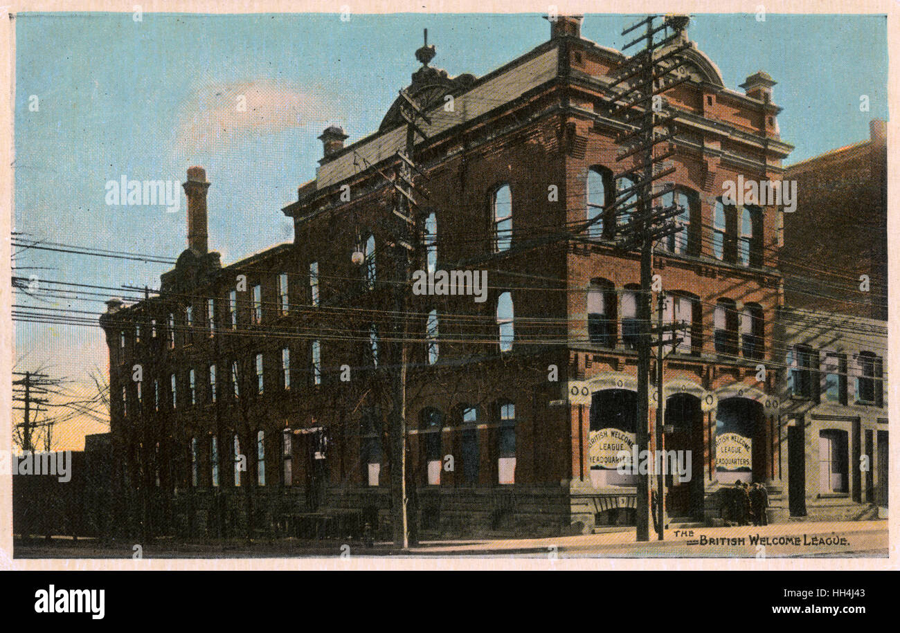 British Welcome League Headquarters building, on the corner of Lorne and Front Streets, Toronto, Canada. - Stock Image