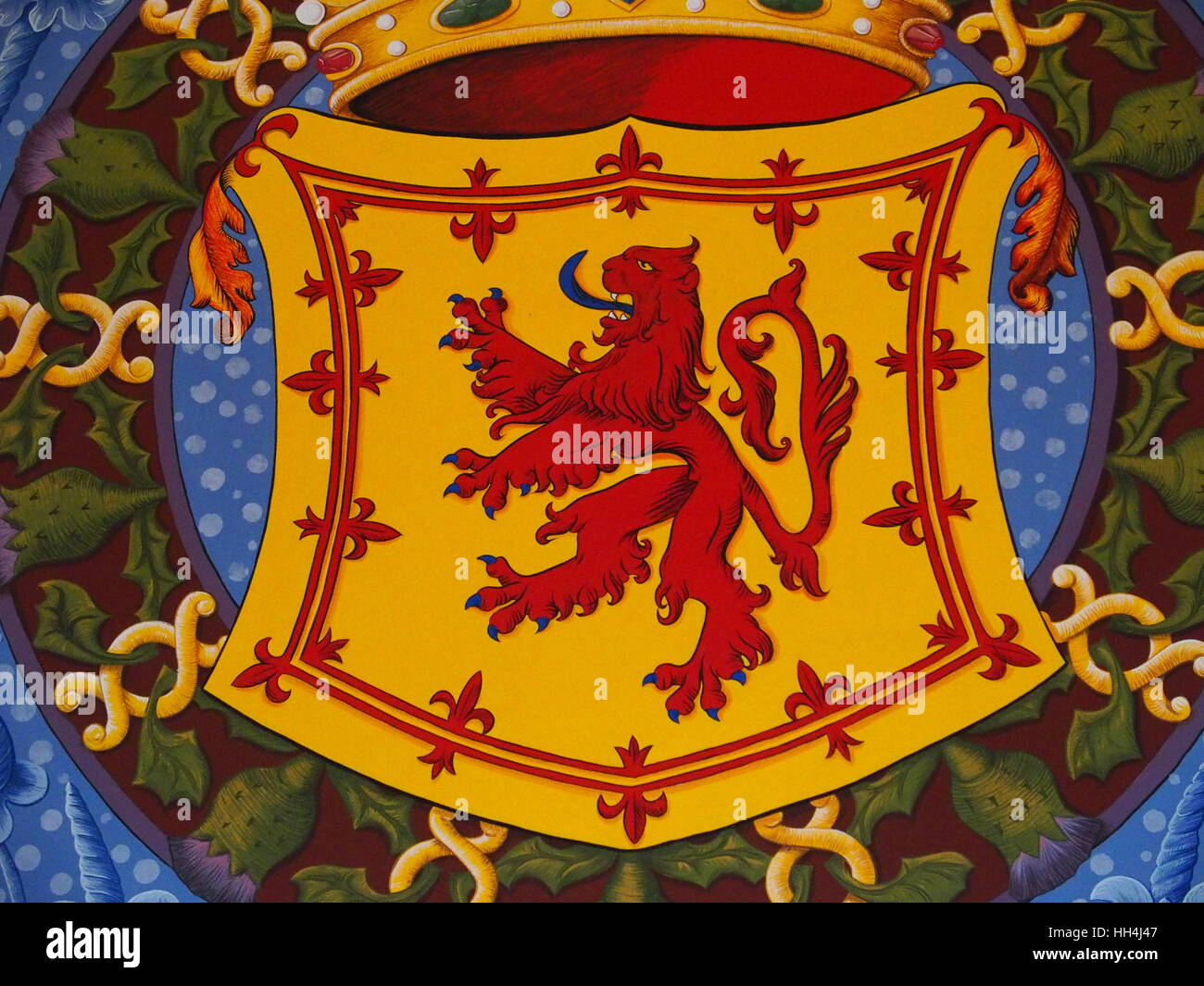 Painting of red scottish lion rampant symbol of scotland on armorial painting of red scottish lion rampant symbol of scotland on armorial bearings in stirling castle in scotland great britain uk europe august 2016 buycottarizona Image collections