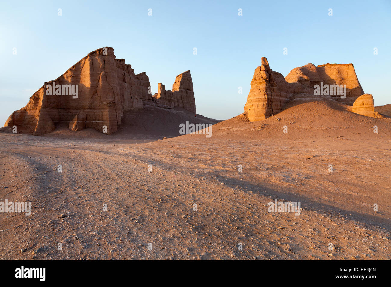 Dasht-e Loot at sunset, a large desert in south eastern Iran. - Stock Image