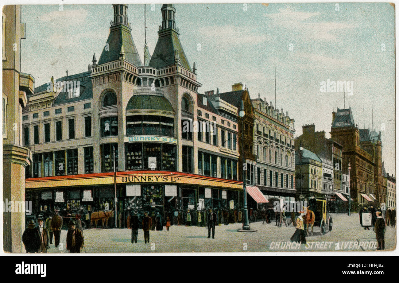 Bunney's Ltd. Department Store - on the corner of Church Street and Whitechapel, Liverpool - Stock Image