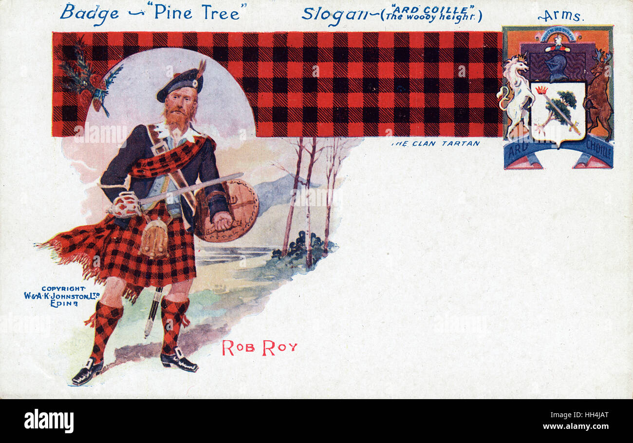 Rob Roy MacGregor (1671-1734), Scottish outlaw and folk hero, with his tartan, coat of arms, badge and slogan. - Stock Image