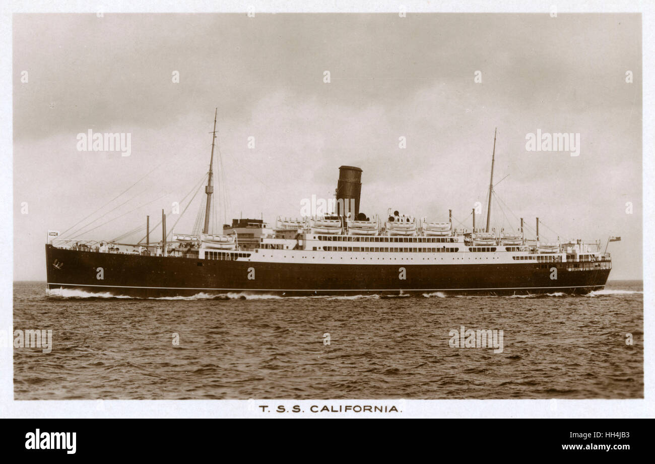 TSS California, (turn screw) steamship of the Anchor Line. - Stock Image