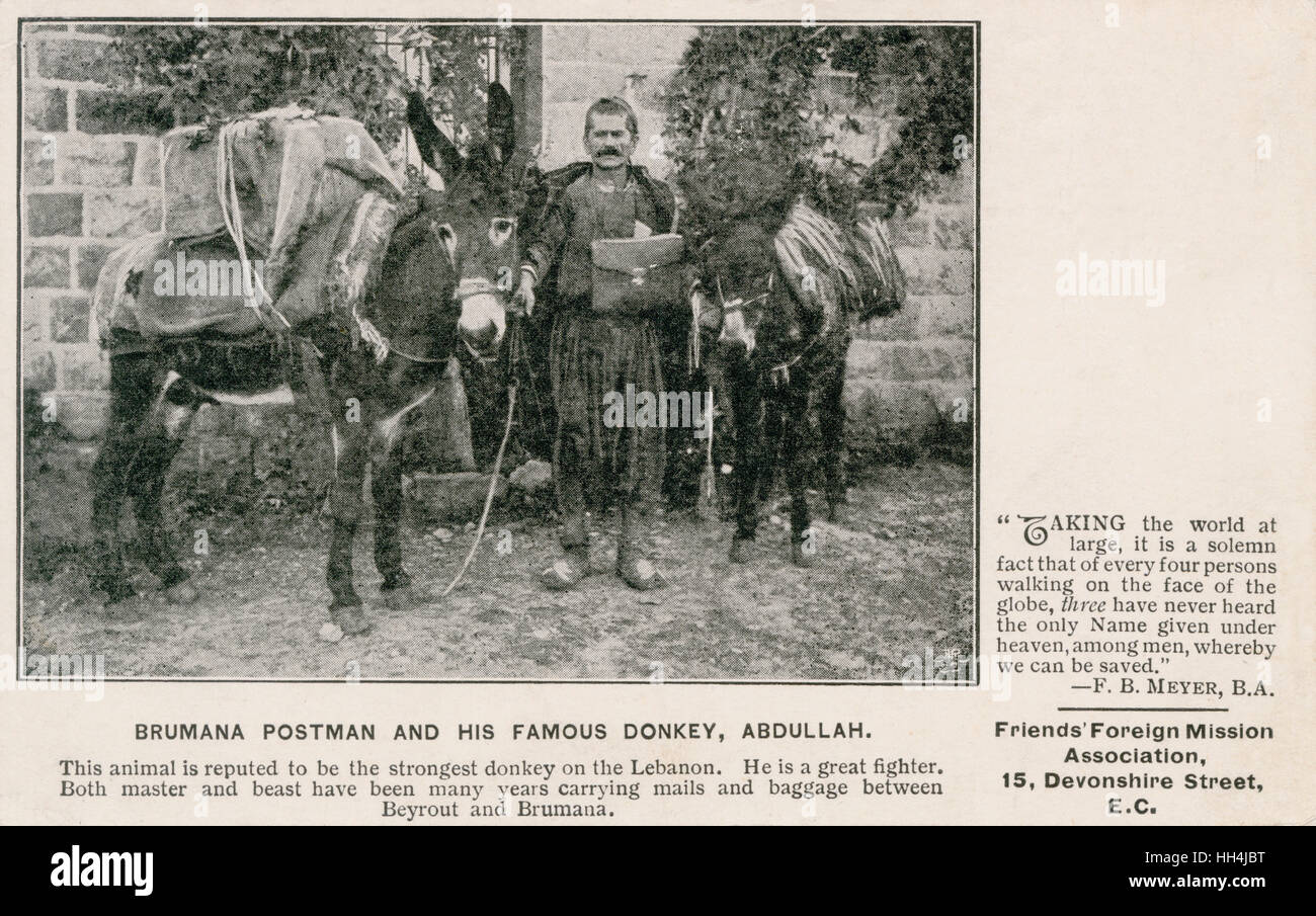 Postman from Brummana, Matn District, Mount Lebanon (Liban) with his donkey Abdullah. This animal is reputed to - Stock Image
