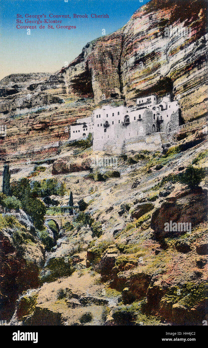 St. George Orthodox Monastery (Choziba) - a monastery located in Wadi Qelt, in the eastern West Bank, Palestine. - Stock Image