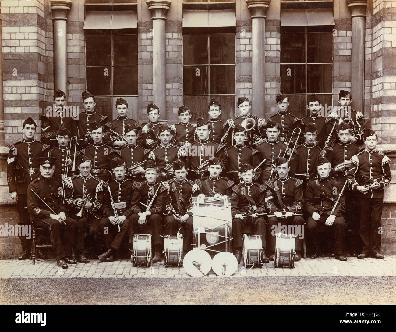 Members of the Officer Training Corps band at Rugby school in 1905.  Top right of the picture is Cuthbert Gasemann, - Stock Image