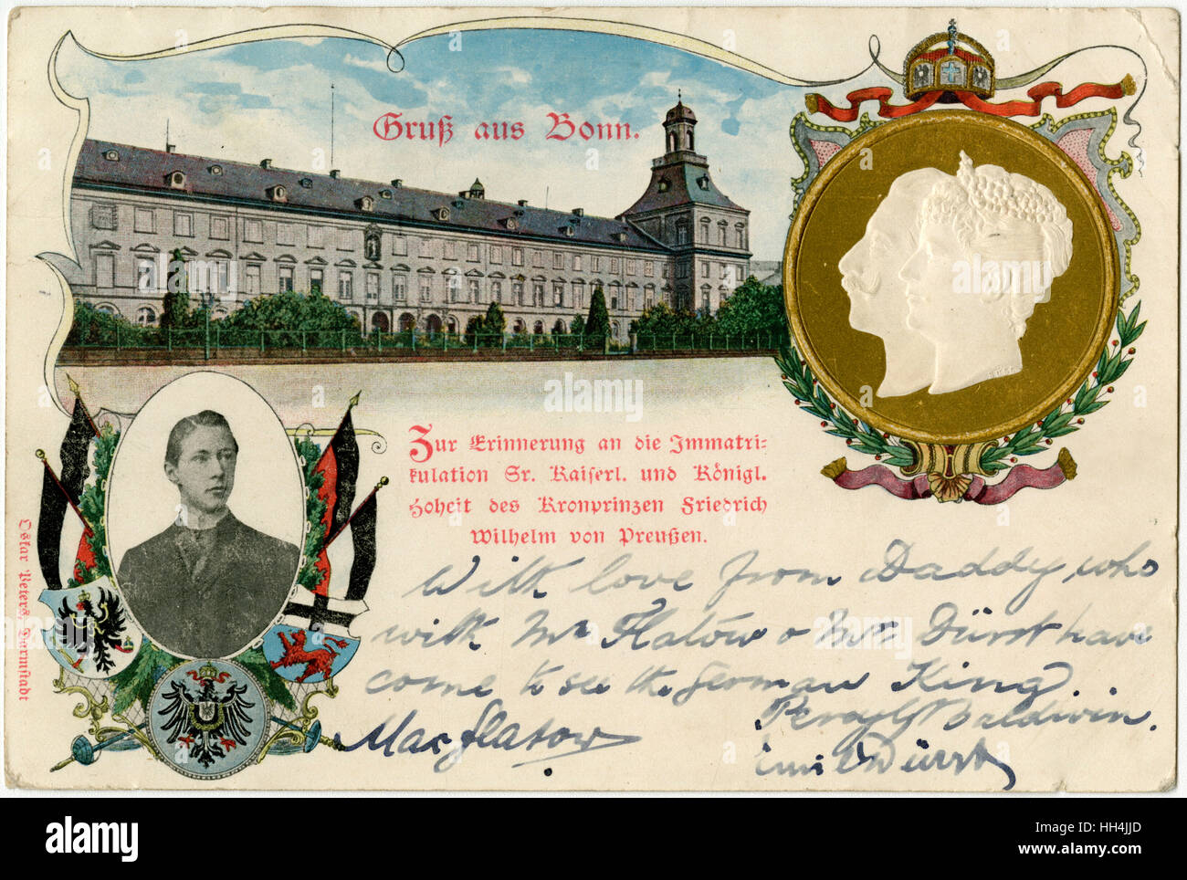 Bonn, Germany - The Electoral Palace, now the University - featuring inset embossed profile portraits of Kaiser Stock Photo