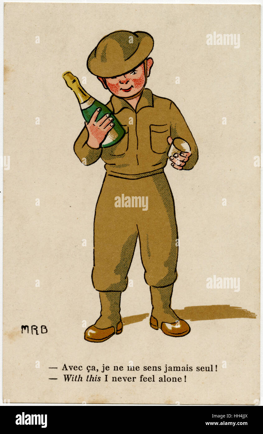 WW2 - 'With this I will never feel alone!' - British soldier with a bottle of fine French Bubbly. - Stock Image