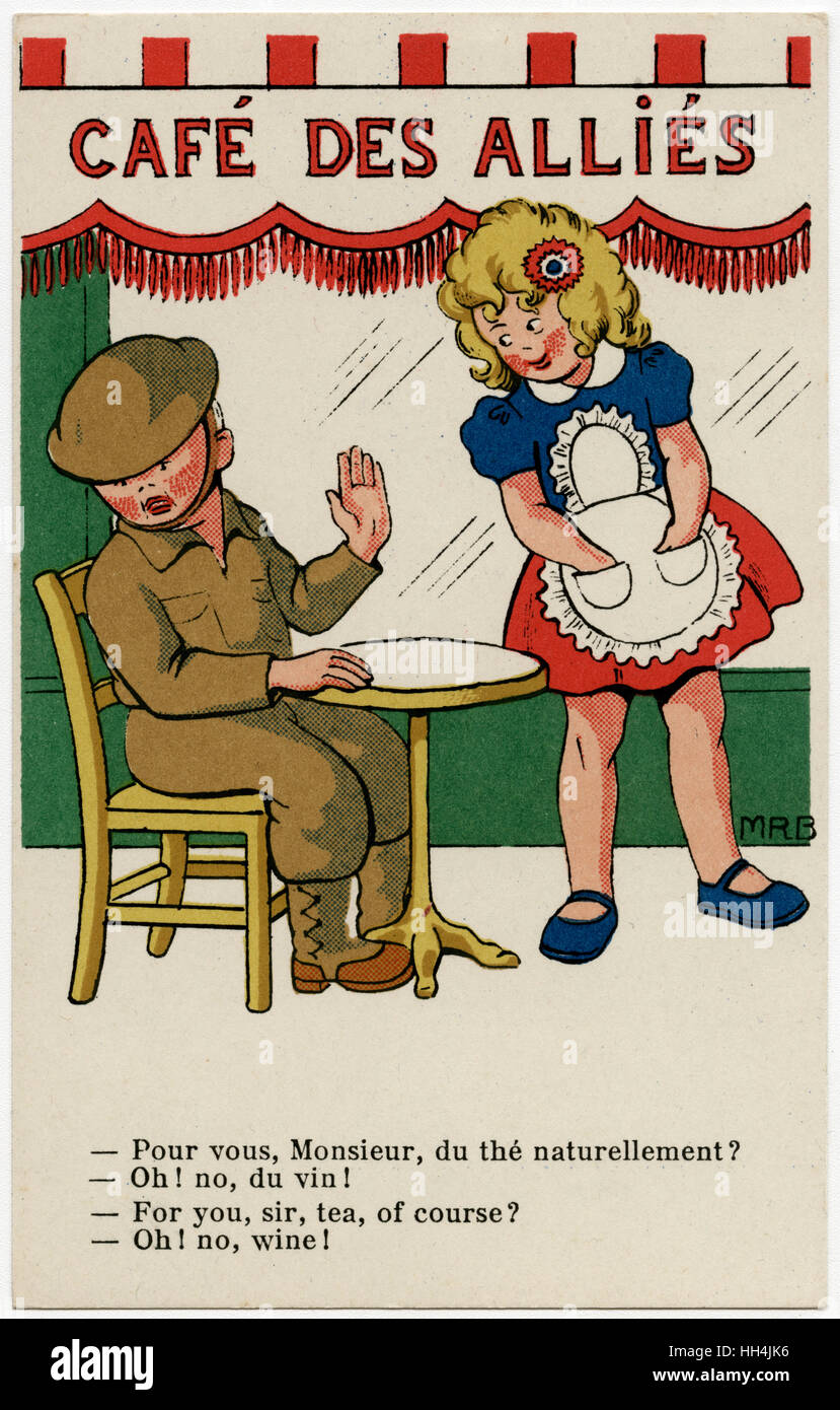 WW2 - British soldier opts for wine instead of tea, which the pretty French waitress assumes to be his tipple of - Stock Image