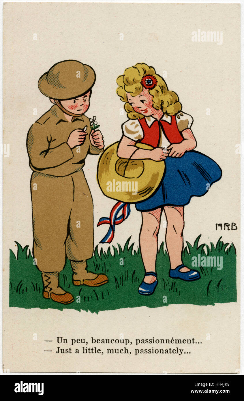 WW2 - British soldier checks his chances using flower petals: 'She loves me, she loves me not...'! - Stock Image