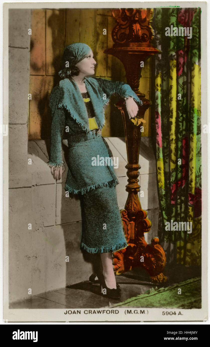 Joan Crawford (Billie Casson) (1904-1977) - American Film Actress - a promotional postcard for MGM Studios. - Stock Image