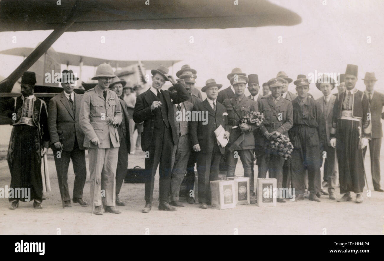 Group of high-profile military and local personalities in Egypt, posing in front of airplanes, one of them the Royal - Stock Image