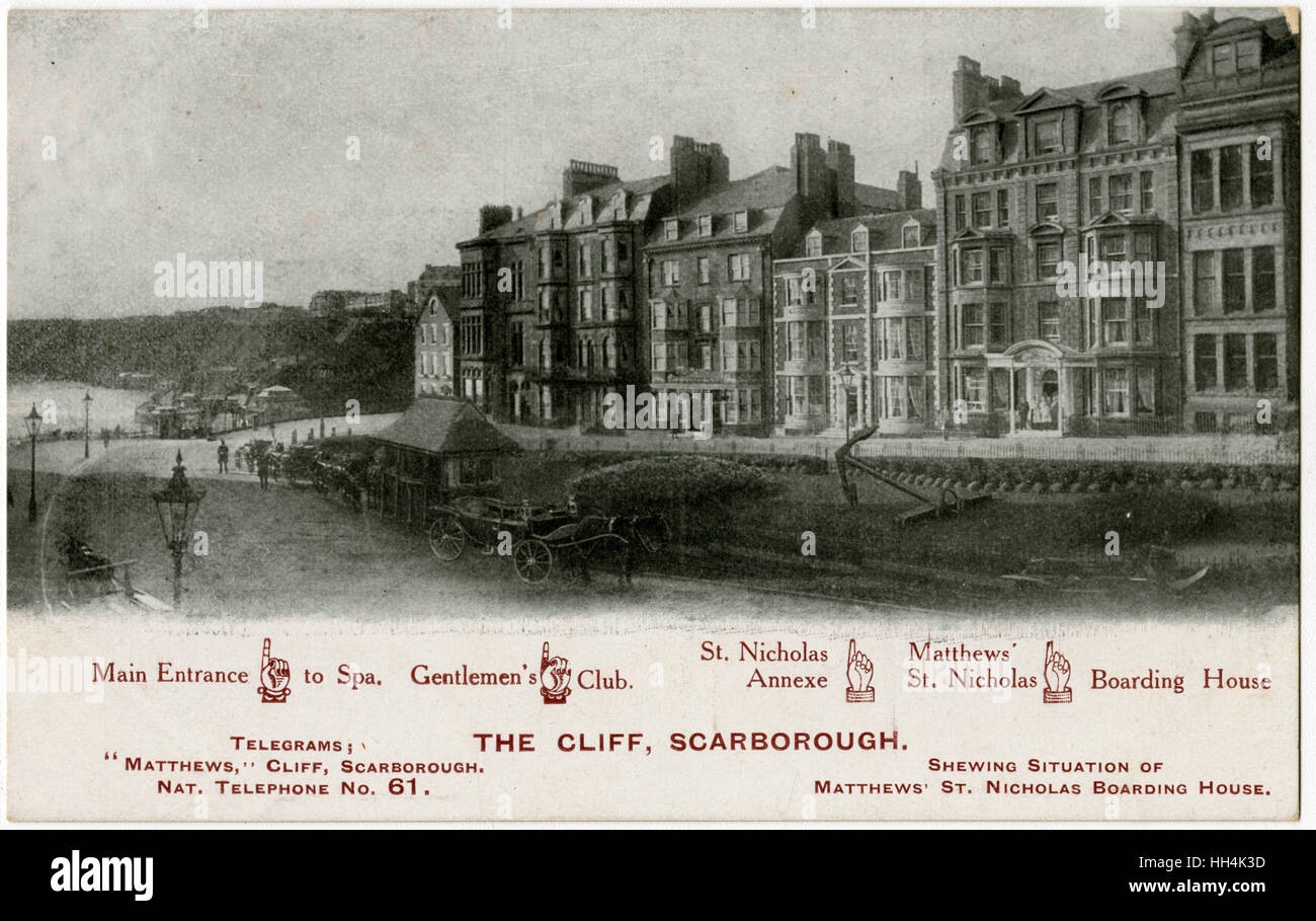 'The Cliff' Scarborough, North Yorkshire showing the loaction of Matthew's St. Nicholas Boarding House - Stock Image