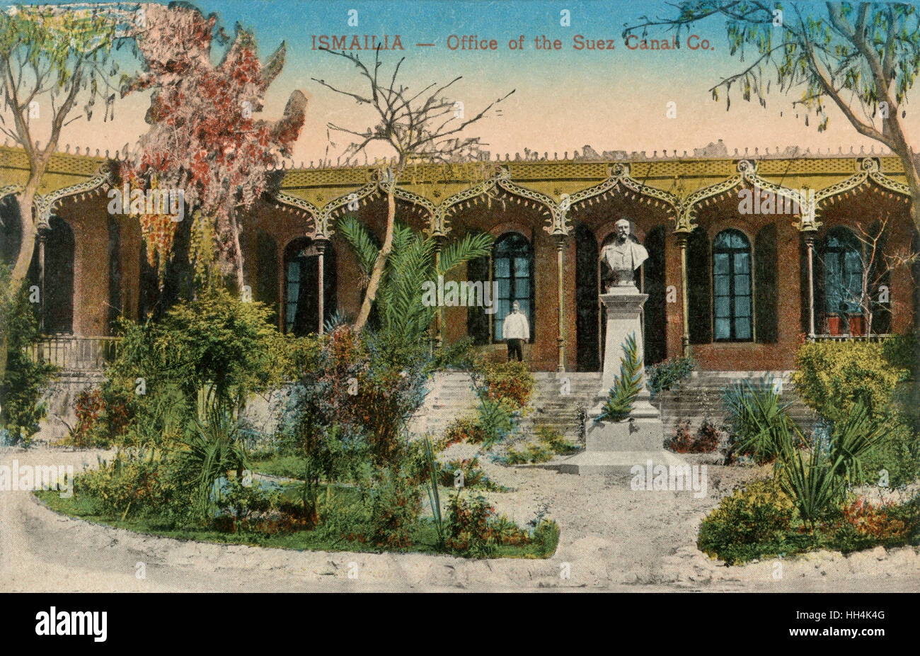 Garden of the office of the Suez Canal Company in Ismailia, a city in north-eastern Egypt. The Suez Canal Company - Stock Image