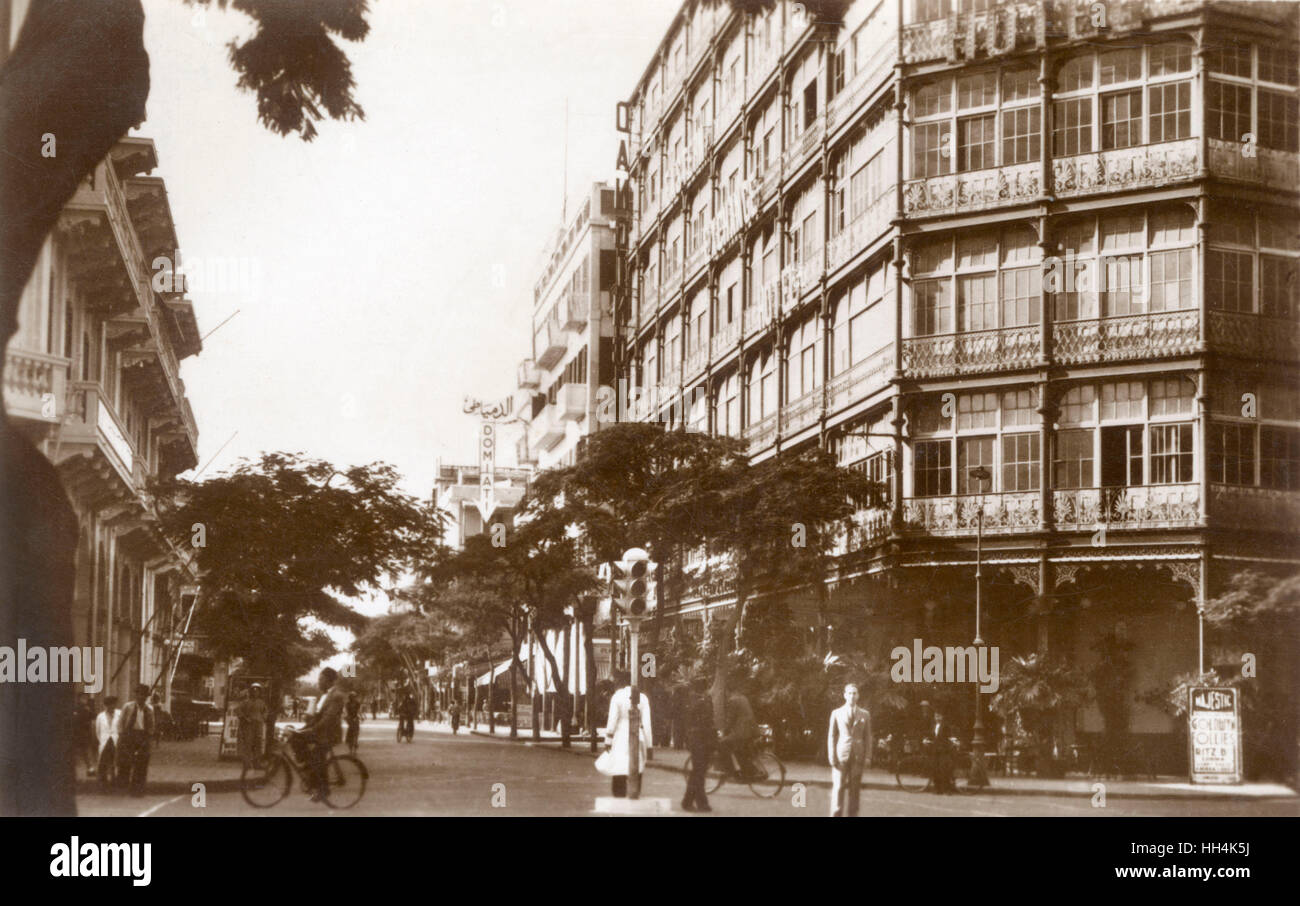 Eastern Exchange Hotel at Fuad el-Awal Street (Boulevard Eugenie) advertising the presentation of the Goldwyn Follies - Stock Image