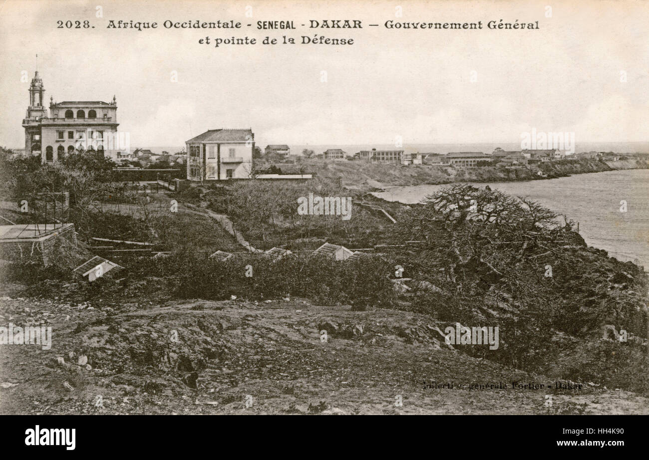 French colonial government and defense bases at the coast of Dakar with the city stretching out in the background, - Stock Image