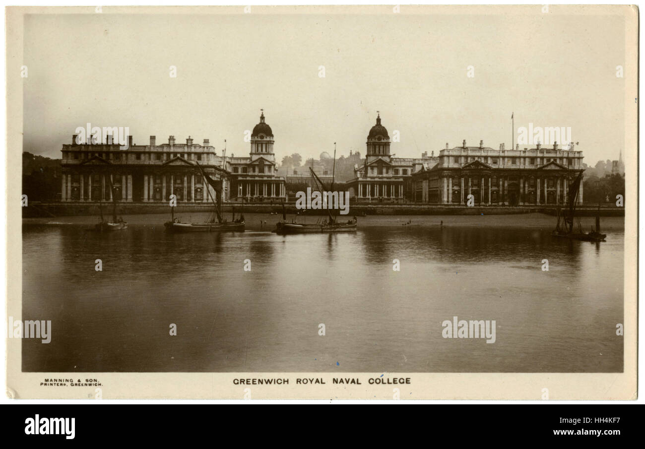 The Royal Naval College, Greenwich. This card was sent home by (later) Lieutenant Richard William Henry MacArtney - Stock Image
