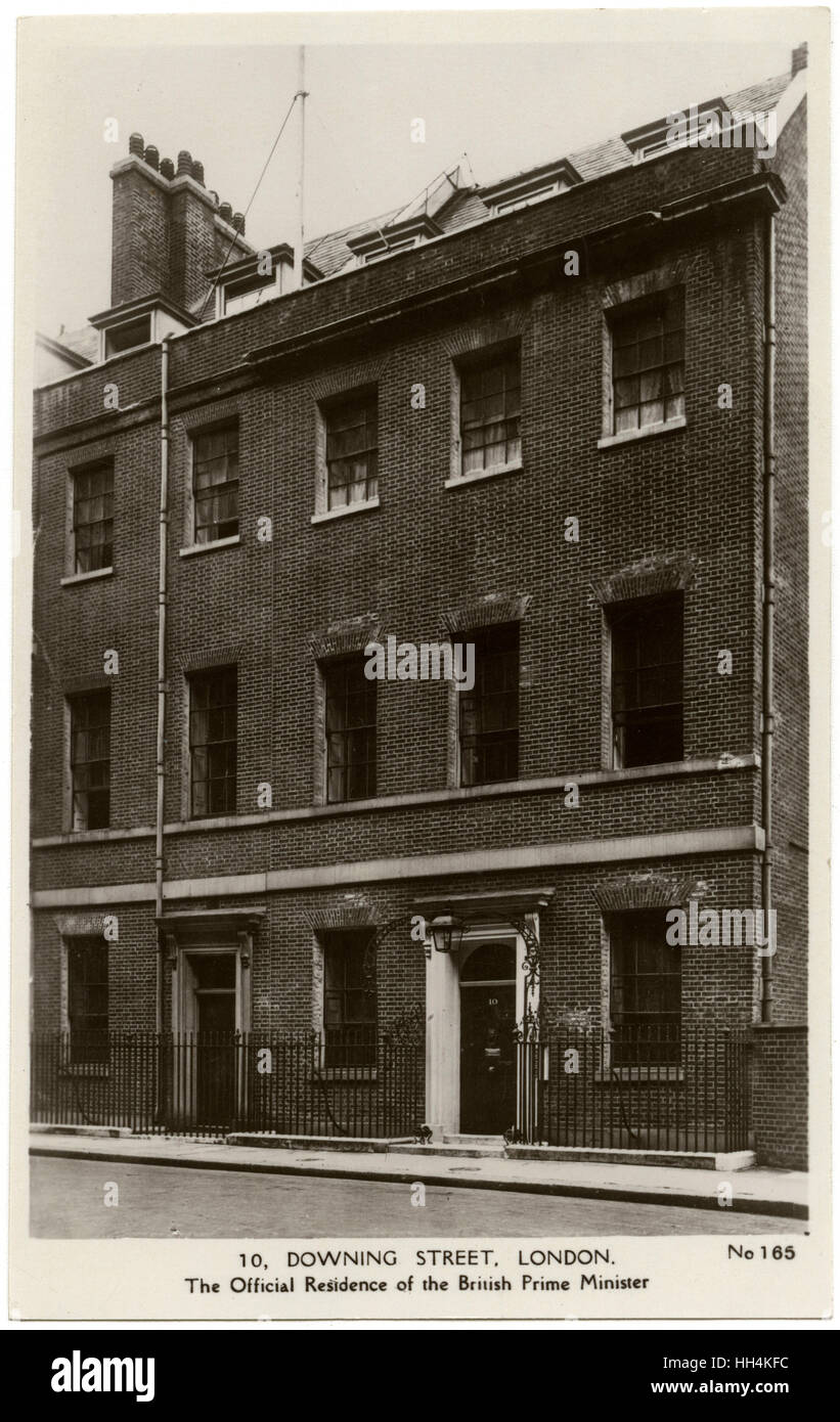10 Downing Street, London - prior to restoration and the addition to the terrace (to the south toward Whitehall). - Stock Image