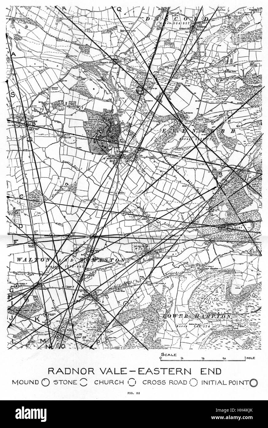 Map showing the eastern end of Radnor Vale, Wales, with the ley lines drawn in by hand. - Stock Image