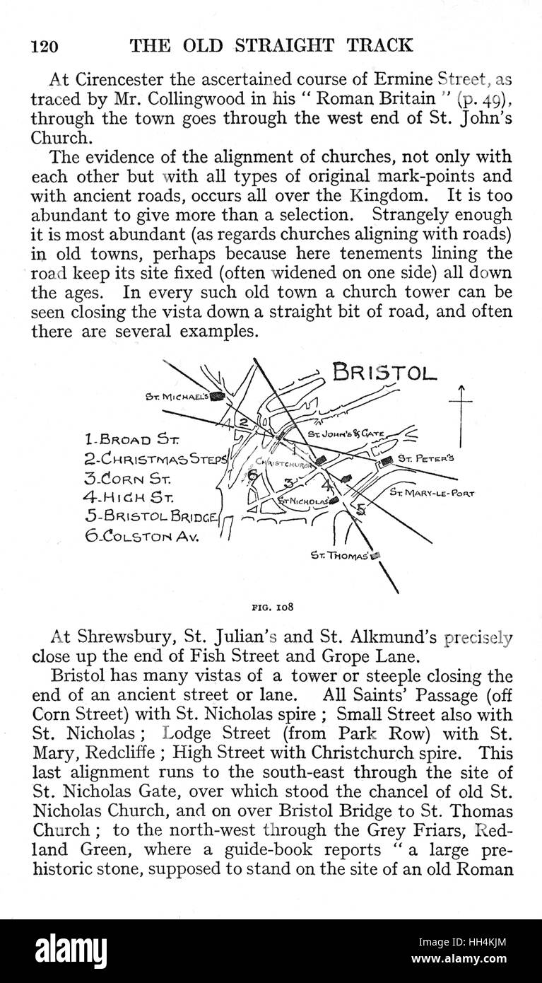 A page from the book 'The Old Straight Track' by Alfred Watkins, with an illustration showing ley lines - Stock Image