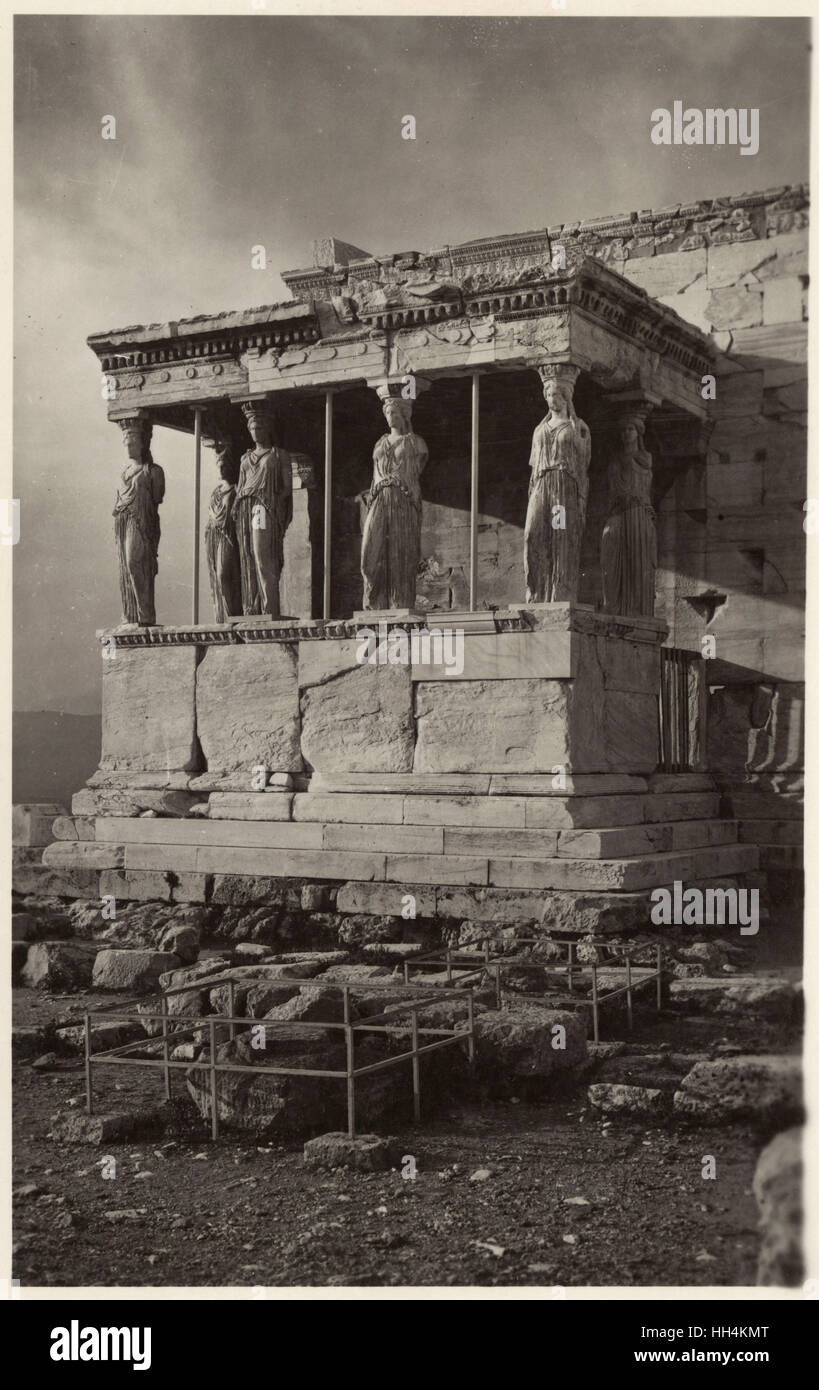 The Caryatid Porch of the Erechtheion on the Acropolis at Athens, Greece - Stock Image