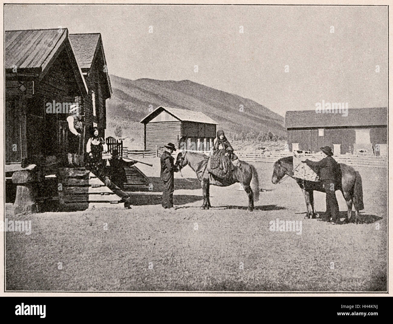North Cape farmstead, Norway, with farming people and merchants with their ponies. One man is holding a long trumpet. - Stock Image