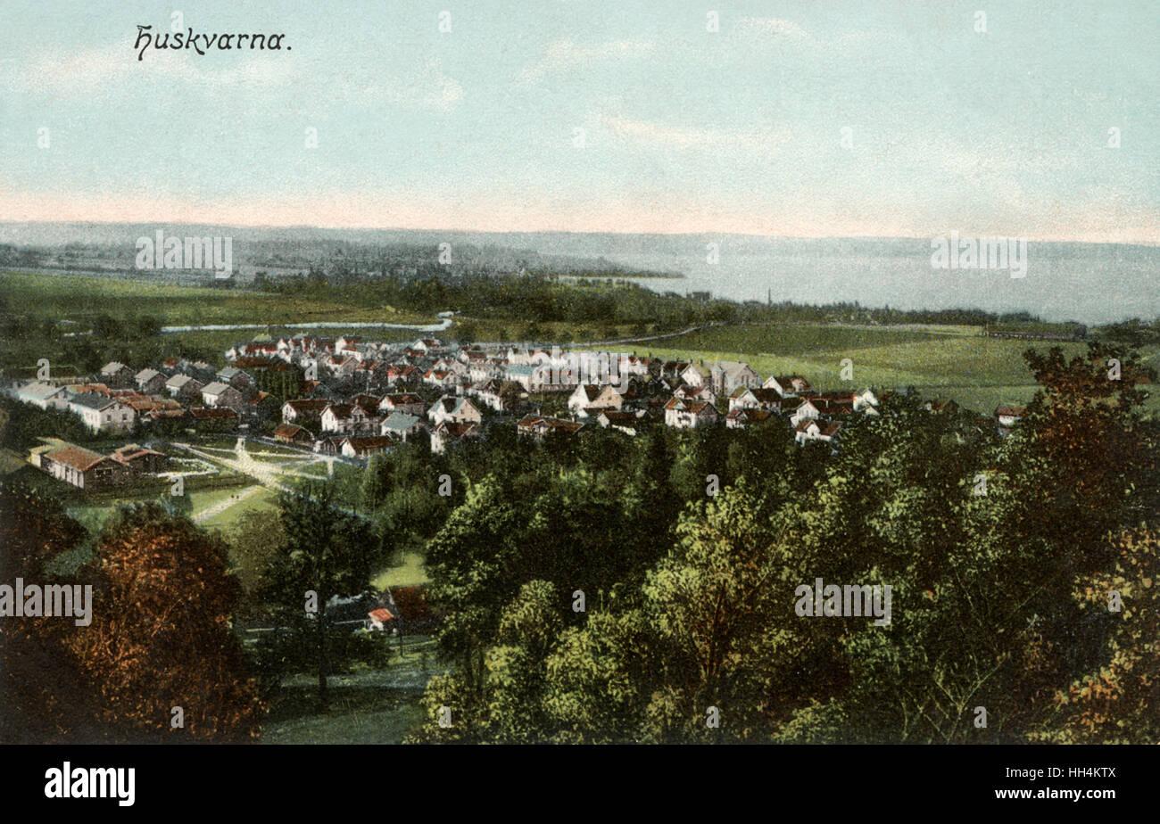 General view of Huskvarna (or Husqvarna), Smaland, Sweden. - Stock Image
