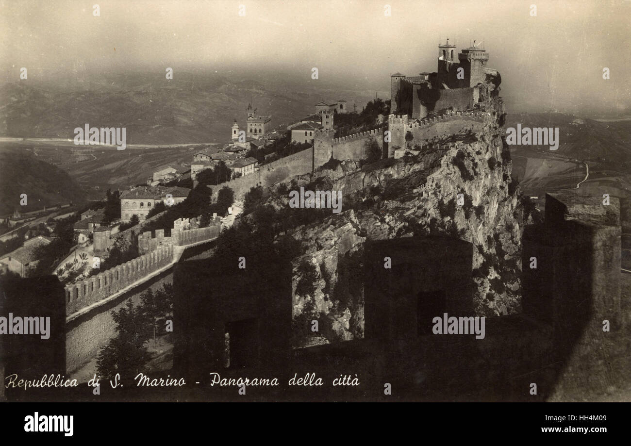 San Marino - Panorama of The City and Defensive Walls - Stock Image