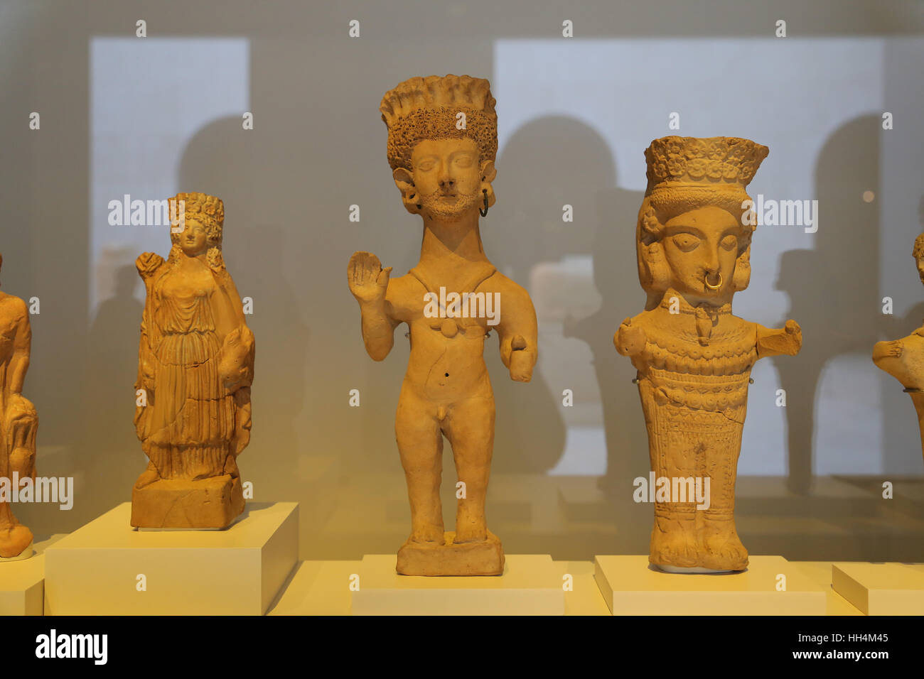 Terracottas. Clay. 4th-3rd century BC. Necropolis of Puig des Molins, Ibiza, Spain. National Archaeological Museum, - Stock Image