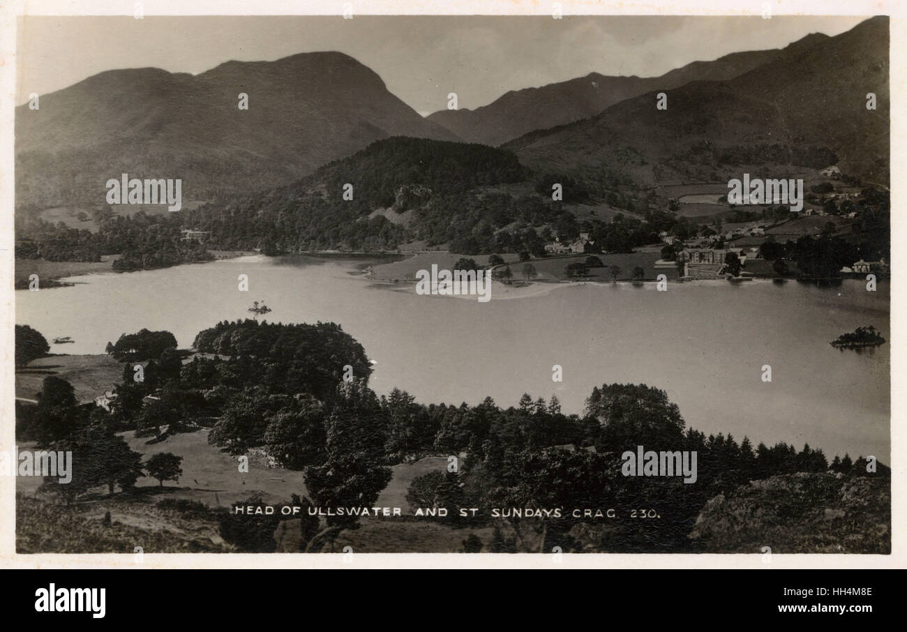 Head of Ullswater Lake and St Sunday Crag, a fell in the English Lake District, part of the Fairfield group in the - Stock Image