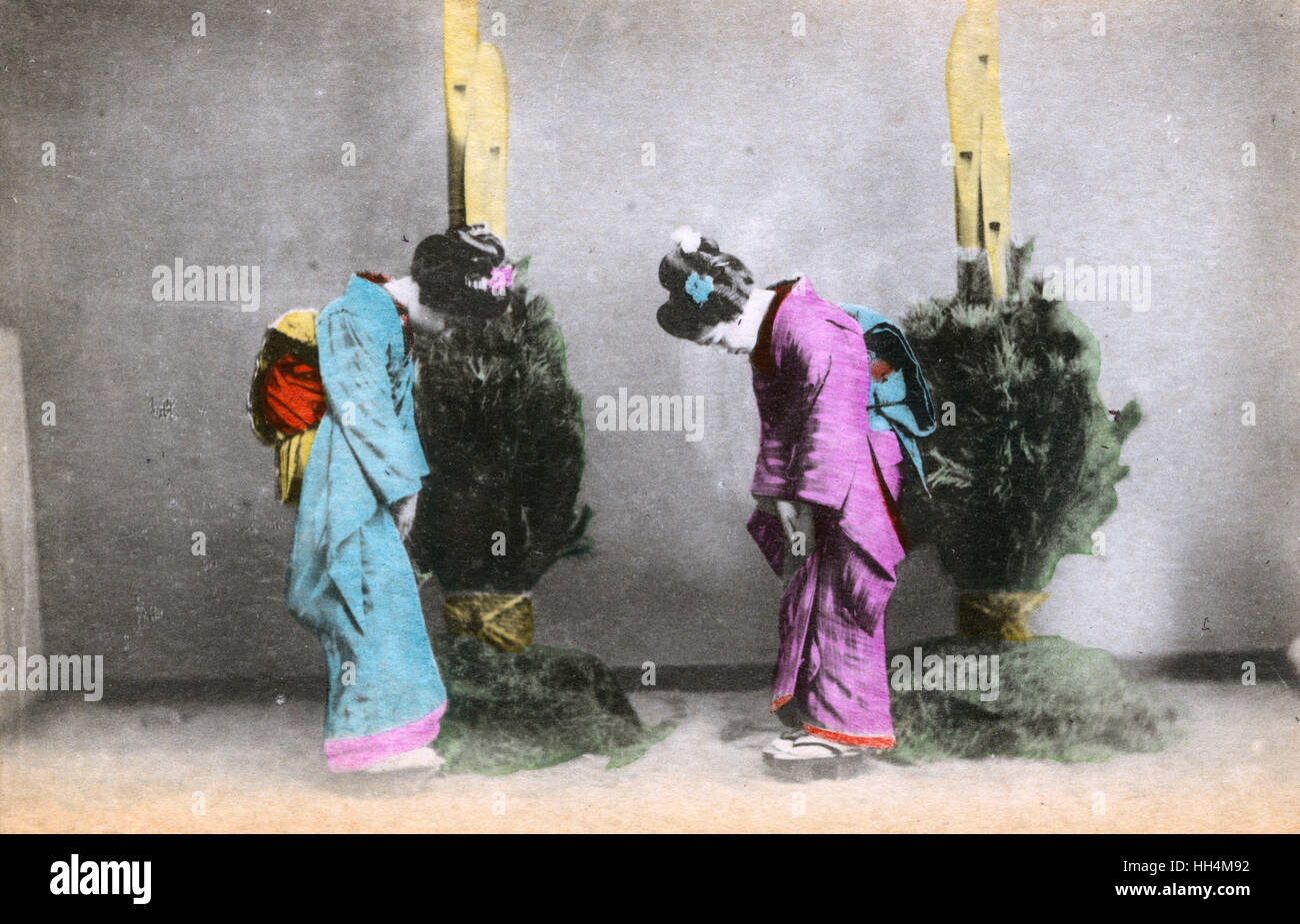 Japanese women bowing stock photos japanese women bowing stock two japanese women greet each other with a bow we are quite unable to ascertain m4hsunfo
