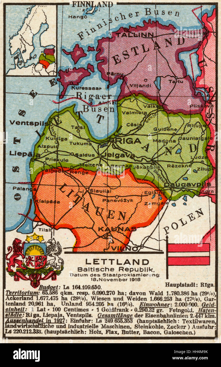 Dutch map postcard of the Baltic States, focusing on Latvia (Lettland). Stock Photo