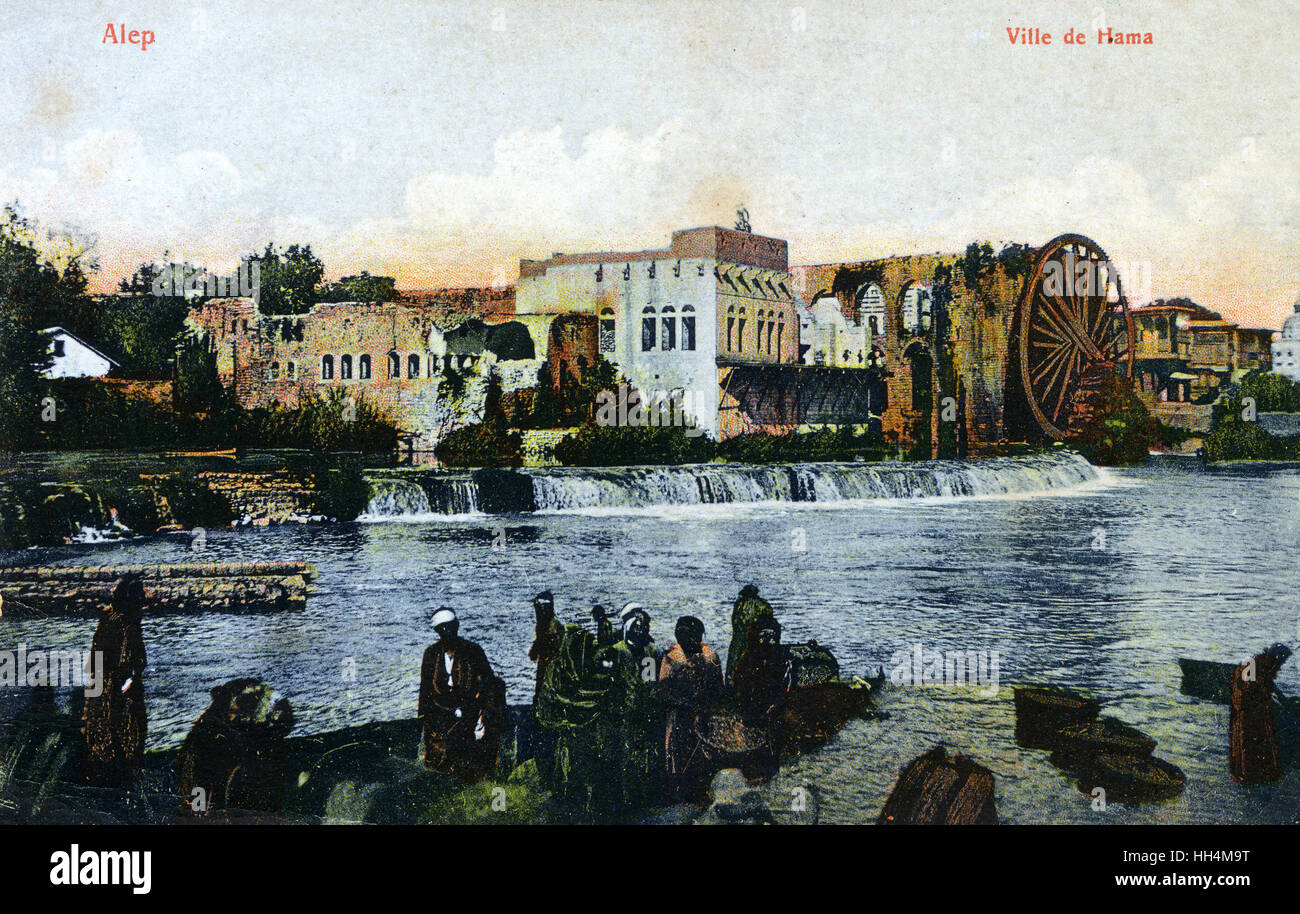 Hama, Syria - The Giant waterwheels on the Orontes River. The city is renowned for these seventeen 'norias', which Stock Photo