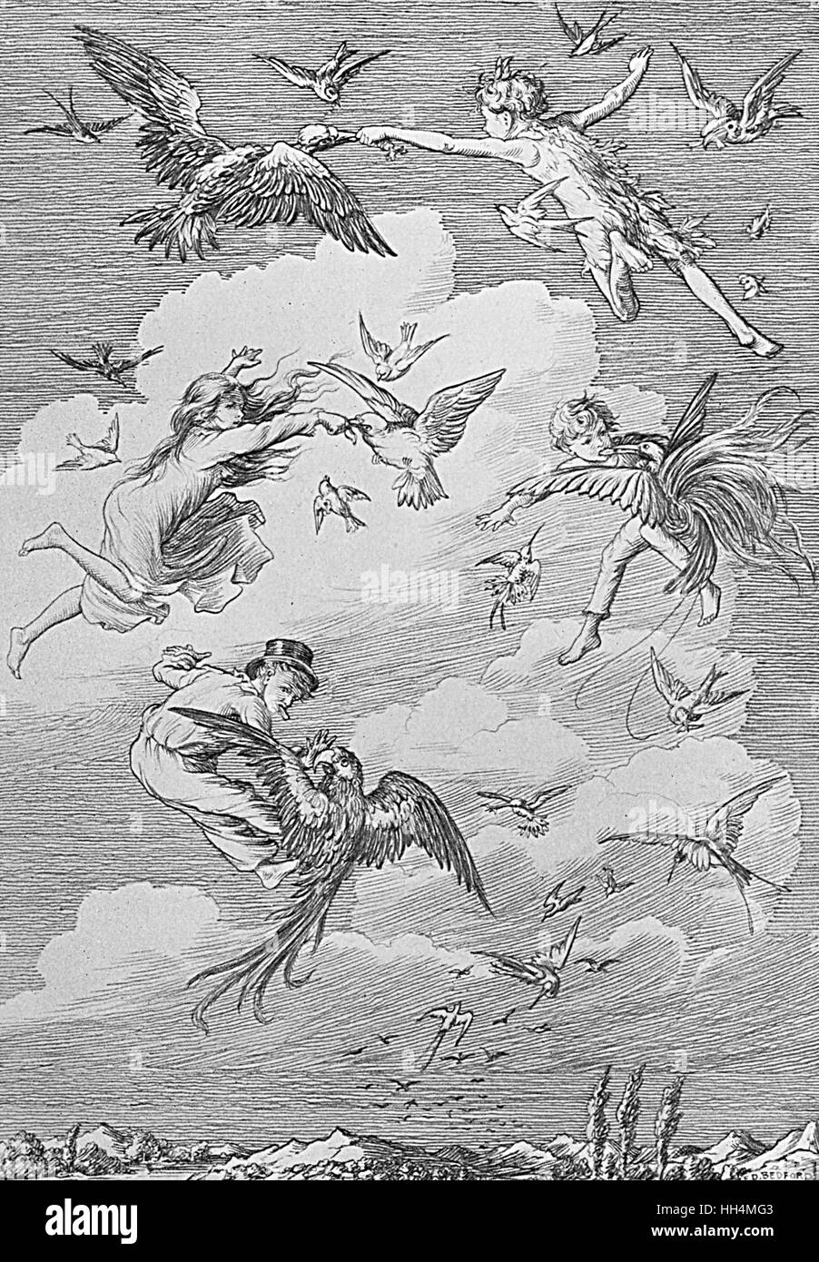 Peter Pan and the Darling children flying with the birds, on their way to Neverland. The children learned from Peter - Stock Image