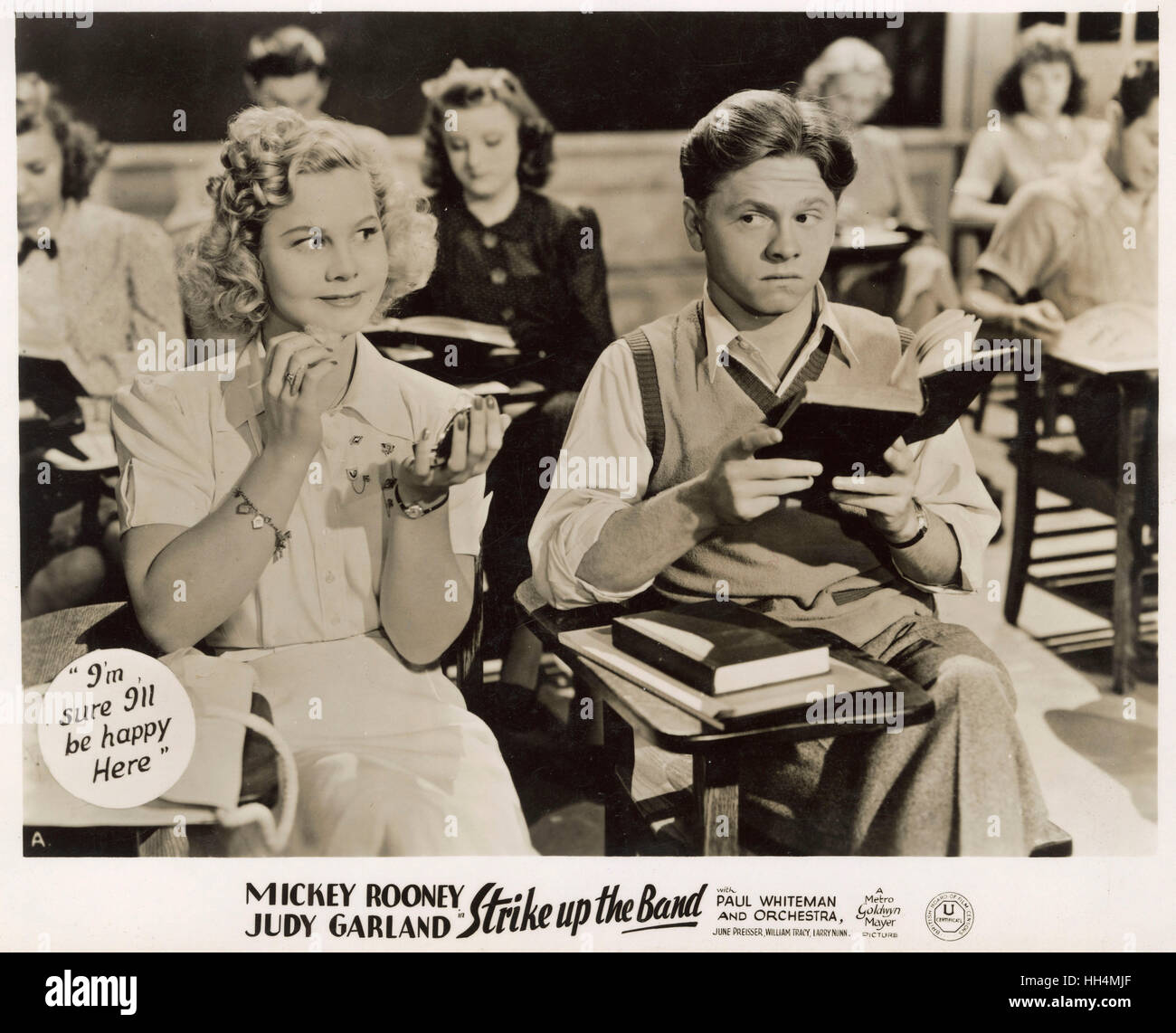 Film - Strike up the Band - starring Mickey Rooney (1920-2014) and Judy Garland (1922-1969) - a 1940 American black - Stock Image