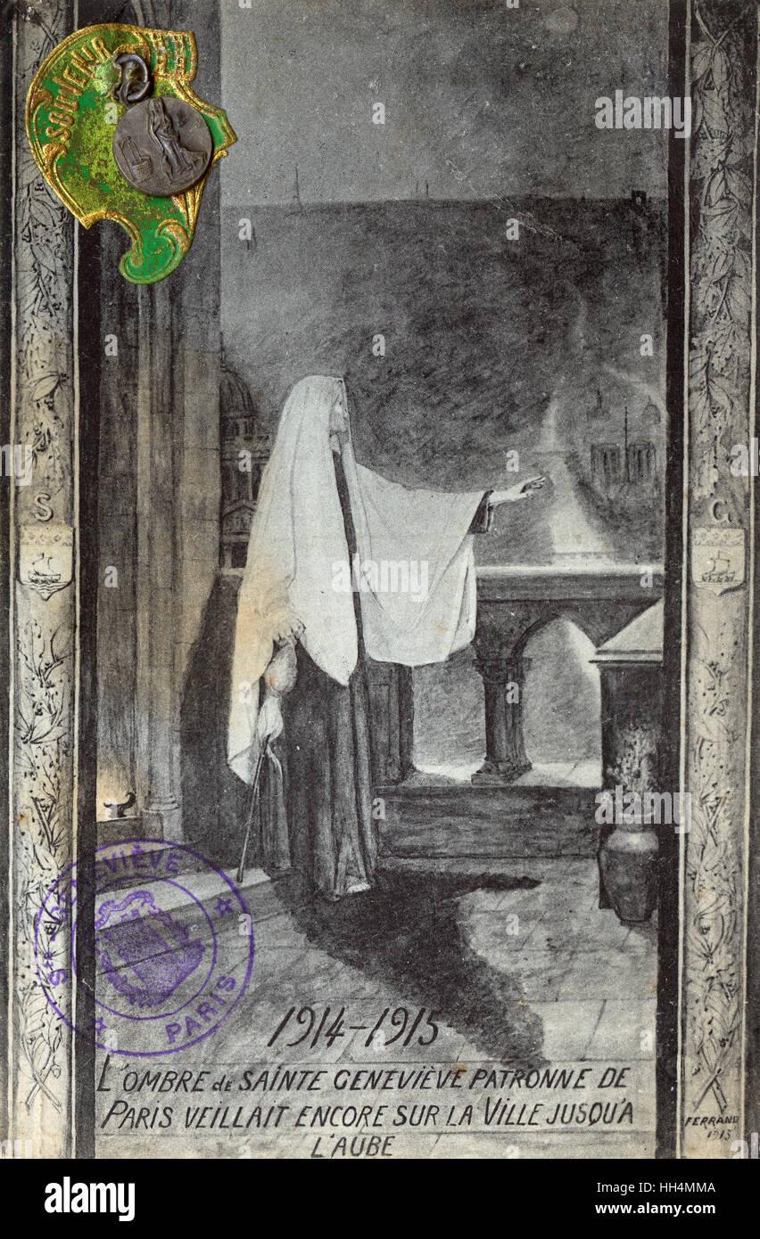 WW1 era - Saint Genevieve, the Patron Saint of Paris, still watching over the town until dawn.... the card bears Stock Photo