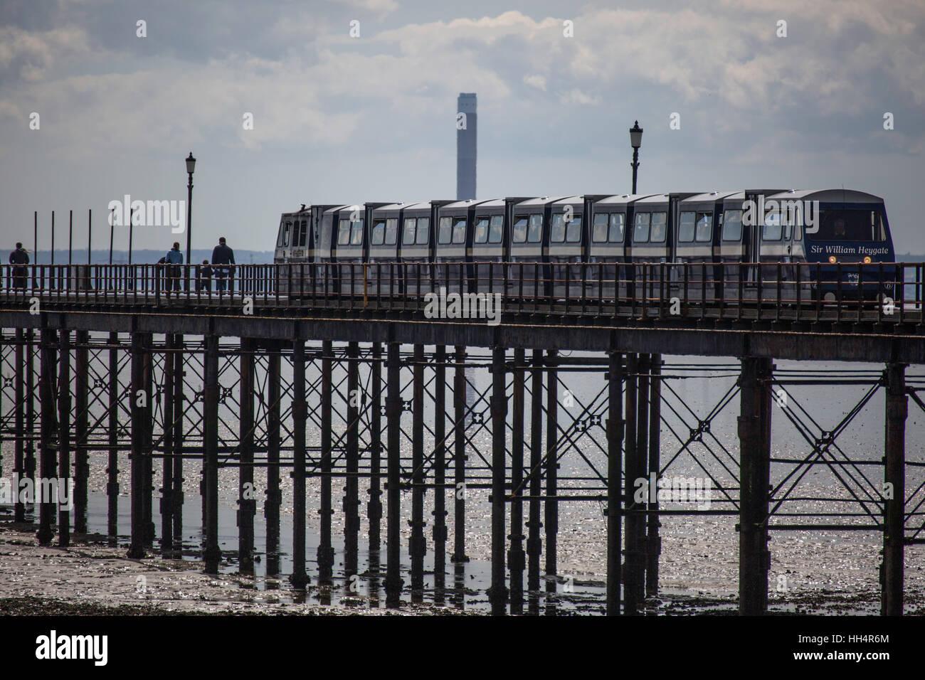 Train on Southend Pier, Southend-on-sea, Essex - Stock Image