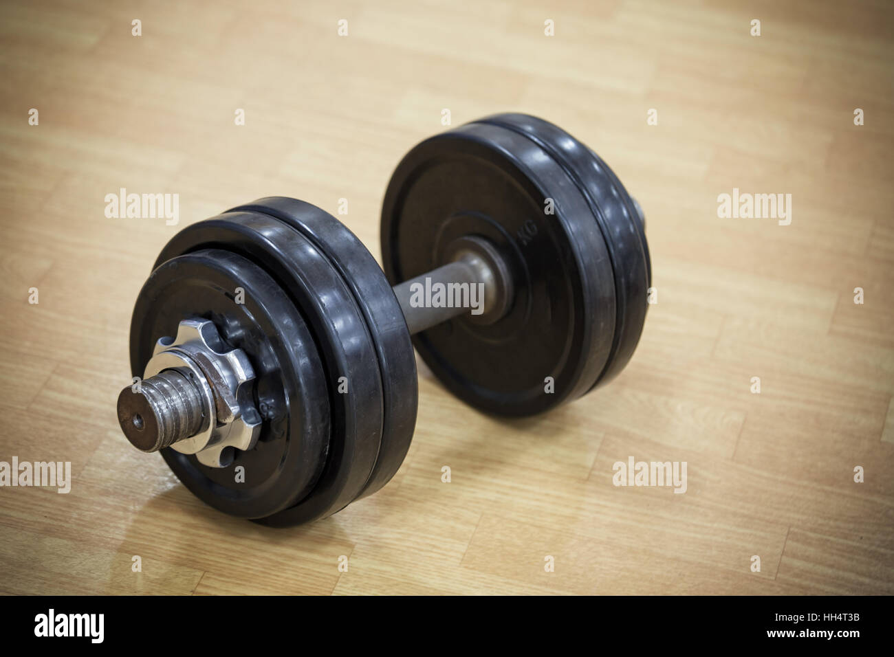 Heavy dumbbell on floor of the gym - Stock Image