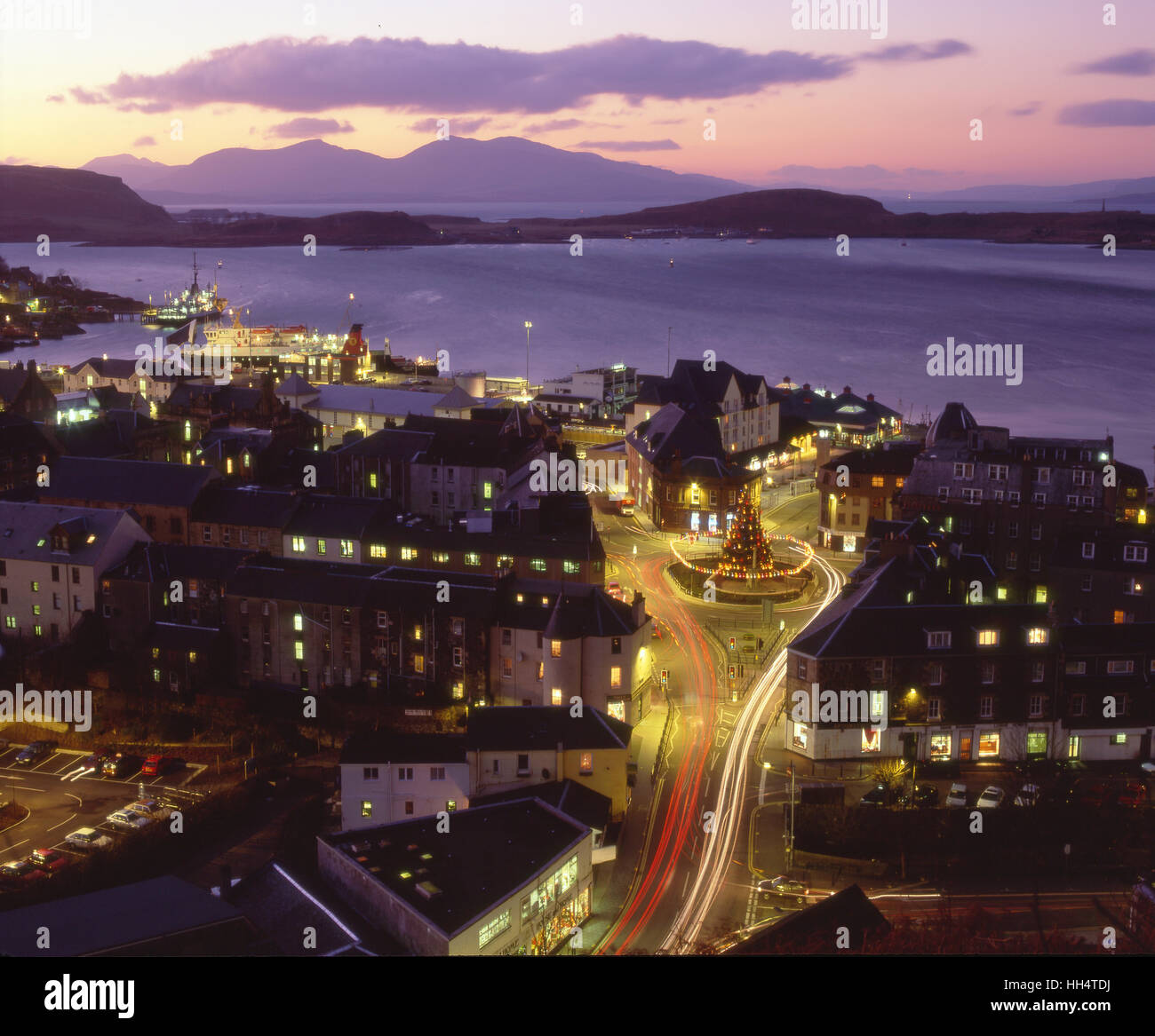 Oban at Christmas with the Island of Mull in the distance, Argyll - Stock Image
