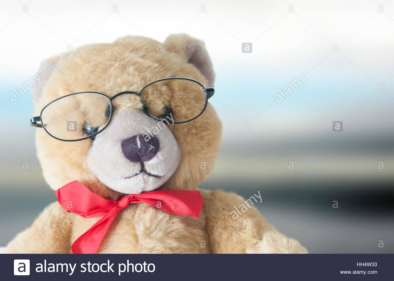 Teddy bear wearing glasses with one lens missing. - Stock Image