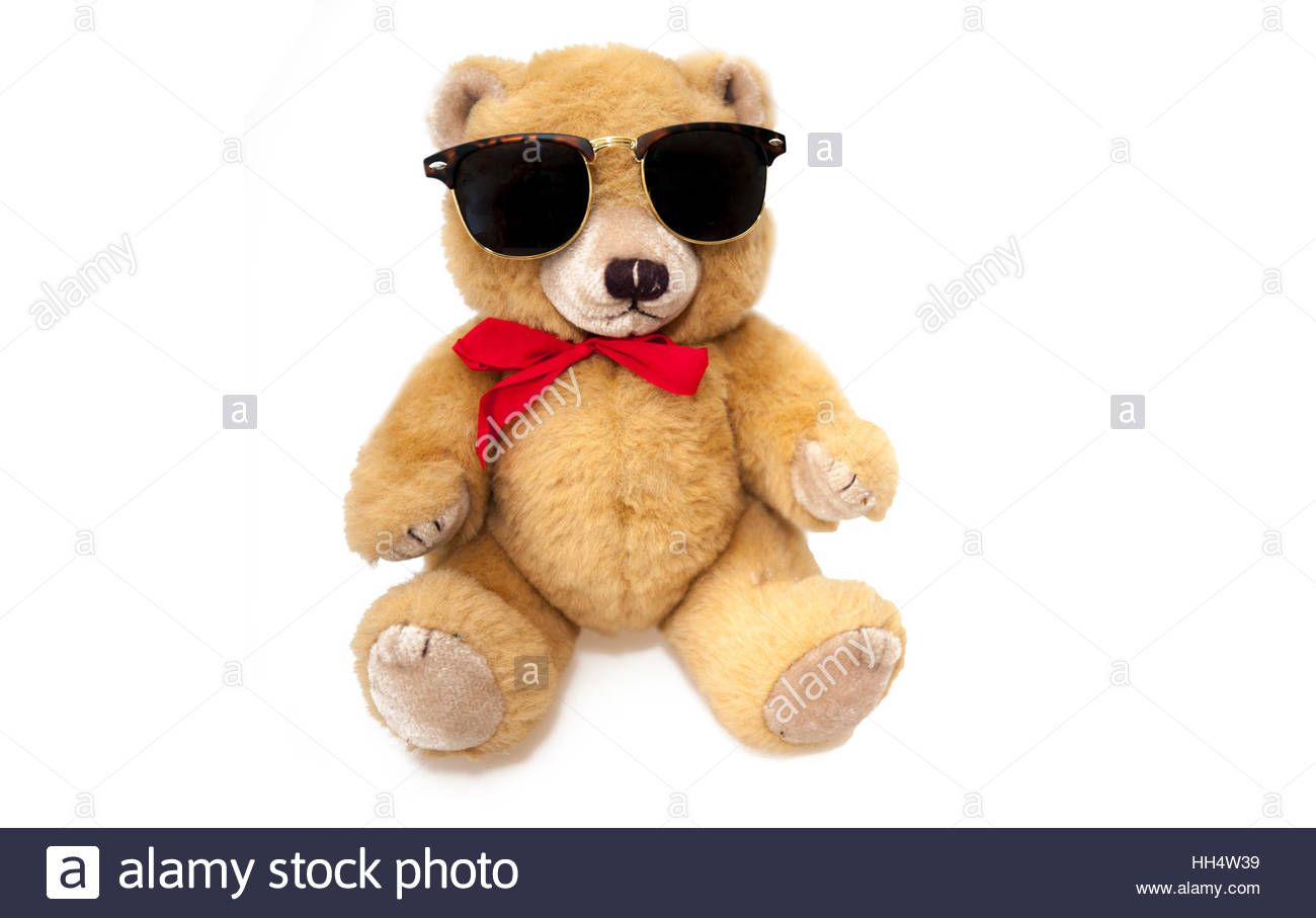 21ce9c6ff81 Teddy bear wearing sunglasses on a white background Stock Photo ...