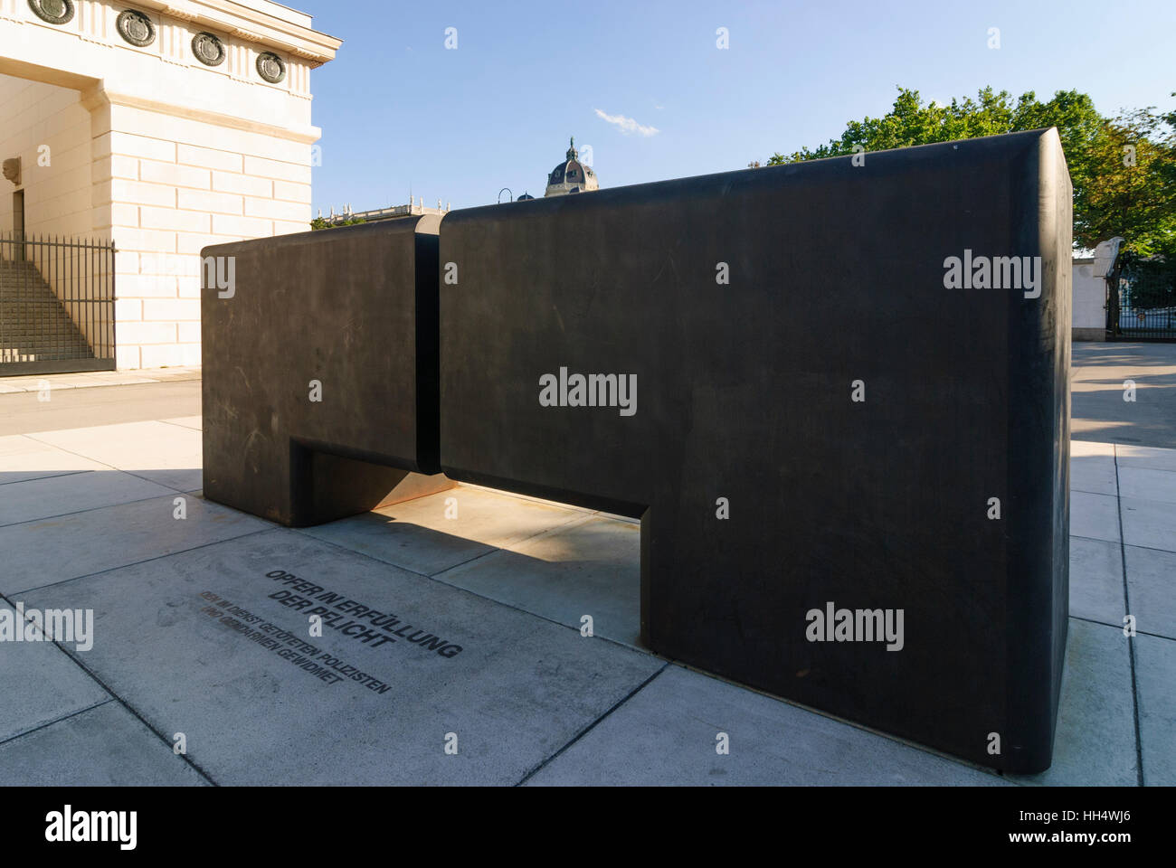 Wien, Vienna: Monument to the policemen killed on duty at the Burgtor, 01. Old Town, Wien, Austria - Stock Image