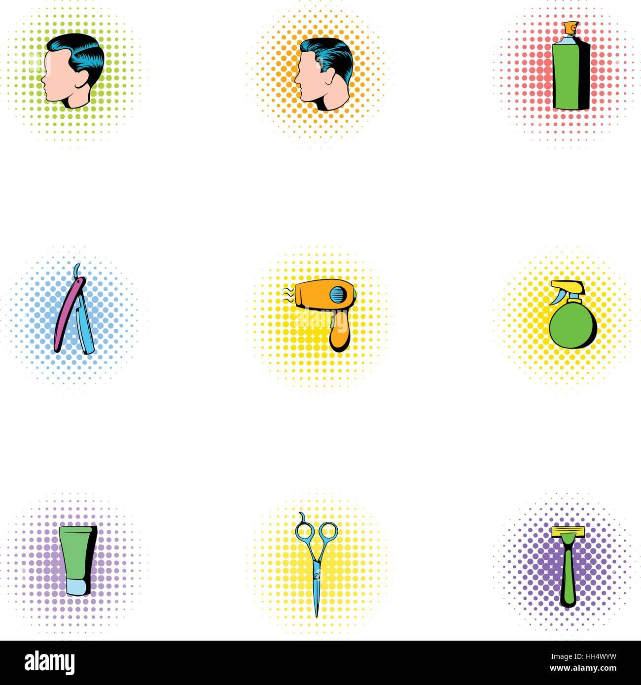 Hair cut icons set, pop-art style - Stock Image