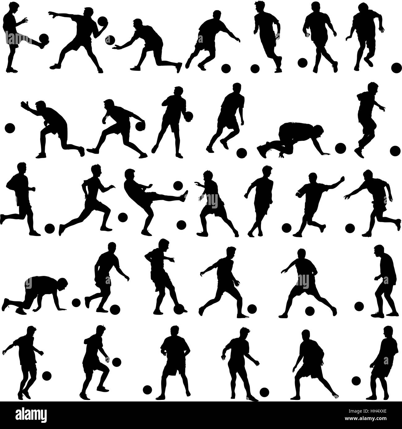 silhouettes of soccer players with the ball. Vector illustration - Stock Vector