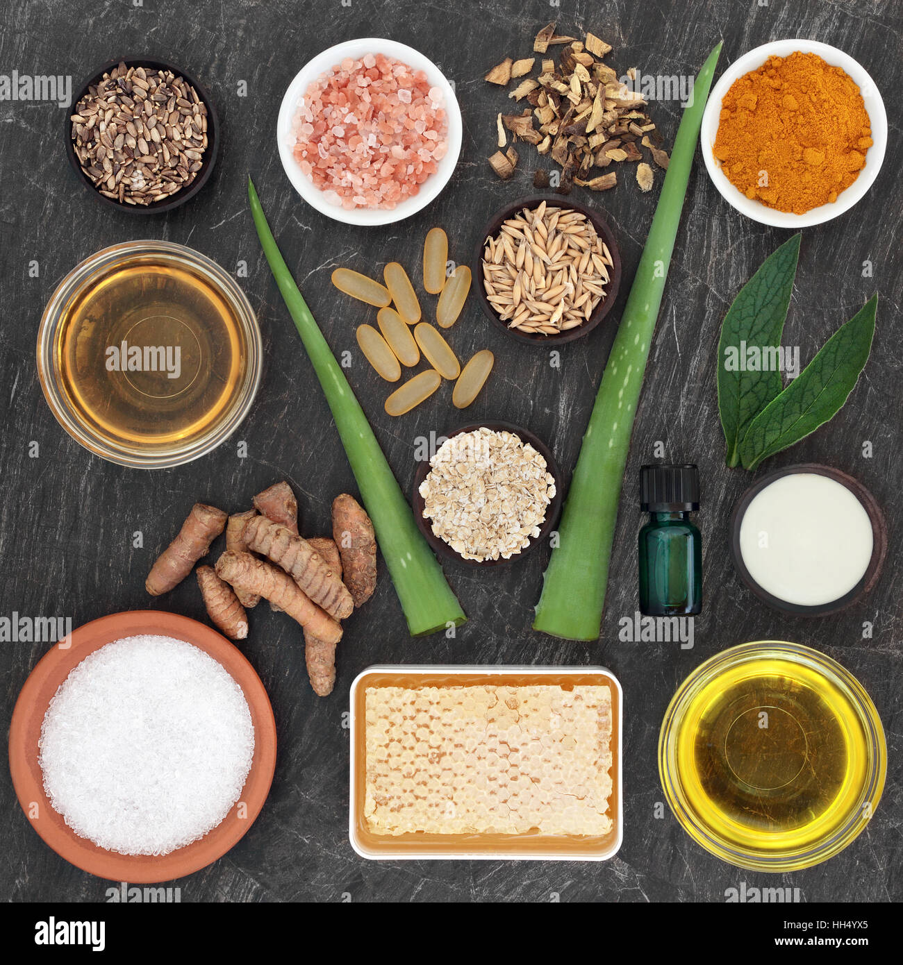 Natural skincare ingredients to soothe skin disorders including eczema and psoriasis. - Stock Image