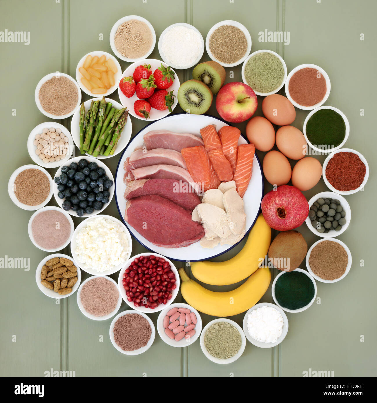 Super food for body builders with lean meat fruit, dairy