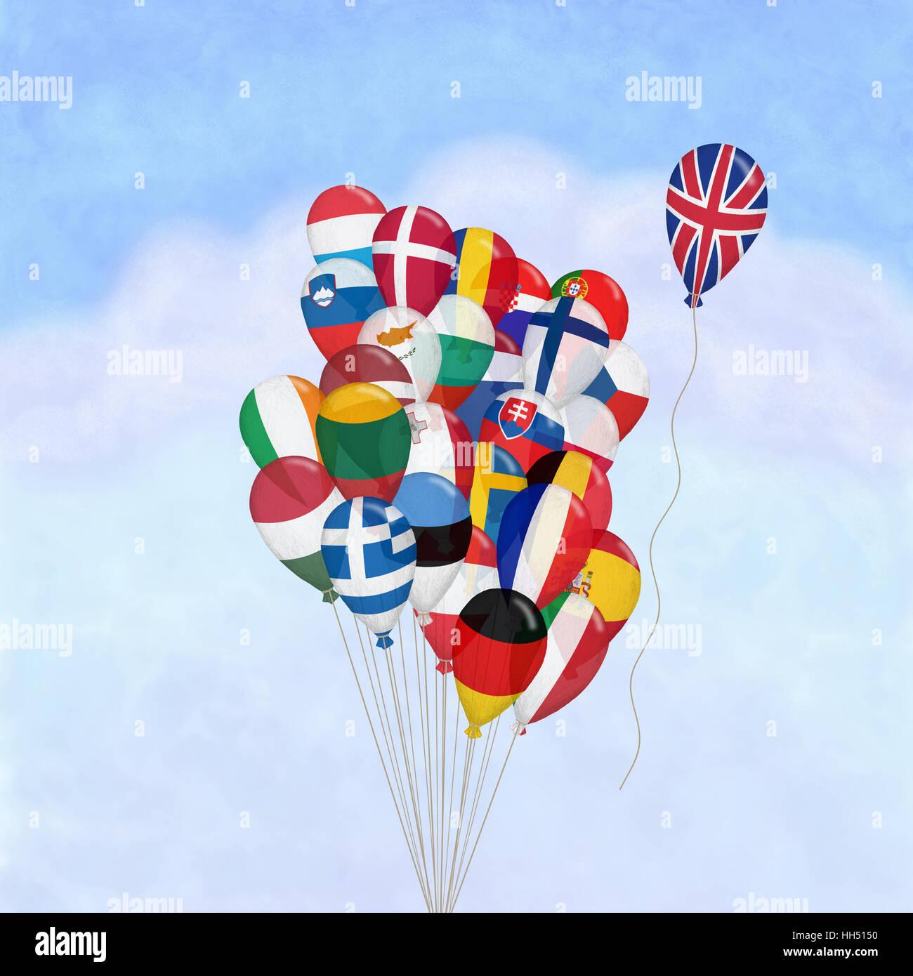 flags of eu showing Brexit,uk leaving eu, break up of EU,leave EU,eu flags, uk flag leaving eu flags, concept,illustration, - Stock Image