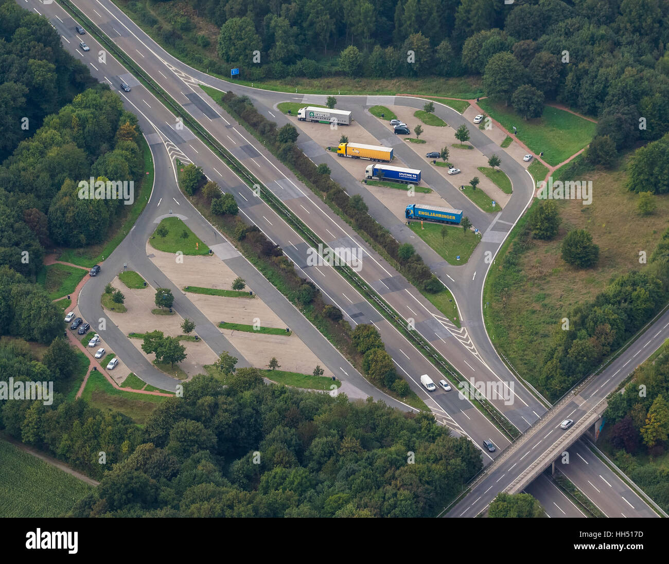 rest area, A57, truck rest periods, city limits Kamp-Lintfort, belongs to the town of Alpen, Niederrhein, Germany, - Stock Image