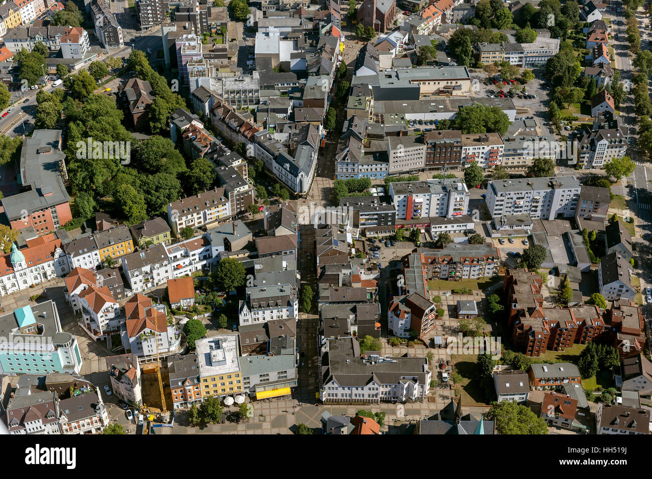 Fussgängerzone East Road, Bochum, Wattenscheid, Bochum, Ruhr area, Germany, Europe, bird-eyes view, aerial - Stock Image